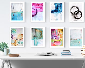 rosa, yellow, creme abstract painting , wall art, jolina anthony