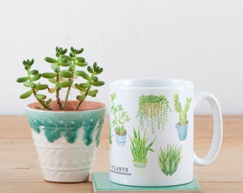House Plants Mug | Plant Ceramic Mug | Ceramic Mug | 10oz Mug | Houseplants | Cacti & Succulents | Illustrated Mug | Plant Lover Gift
