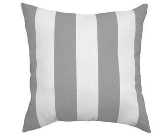 SALE Grey White Outdoor Pillow Cover, Gray Throw Pillow, Grey and White Striped Pillow Cover, Grey Patio Pillow, Zippered Outdoor Pillow Cov