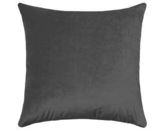 Charcoal Grey Velvet Pillow Cover, Solid Gray Velvet, Gray Accent Pillow, Velvet Pillow, Gray Velvet Pillow Cover, Obsession Velvet Pillow