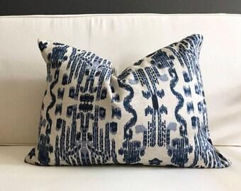 Pillow Cover, Blue Ikat Lumbar Pillow Cover, MUMBAI
