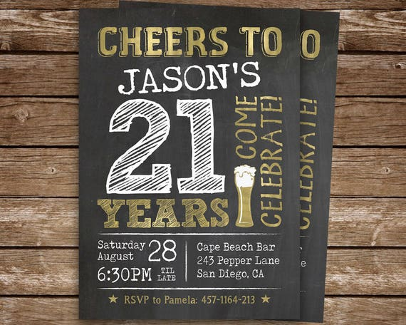 21st birthday invitation for man cheers to 21 years invite il570xn filmwisefo Choice Image