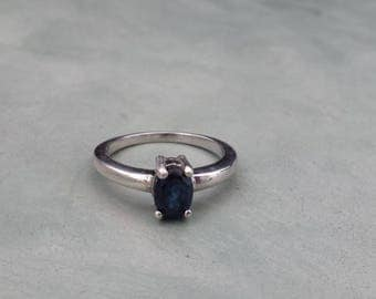 Sapphire silver ring,genuine sapphire sterling silver ring,dainty minimalist sapphire ring,natural blue sapphire silver ring,prong sapphire