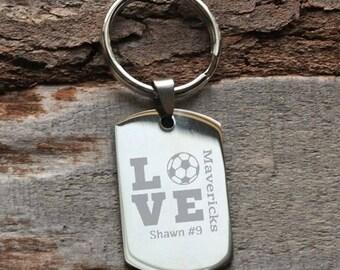 Soccer Love Block Engraved Key Chain - Gift