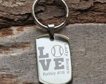 Baseball or Softball Team Player Personalized Key Chain - Engraved
