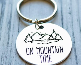 On Mountain Time Personalized Key Chain - Engraved