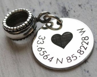 Love My Home Coordinates Personalized Engraved Charm Bead