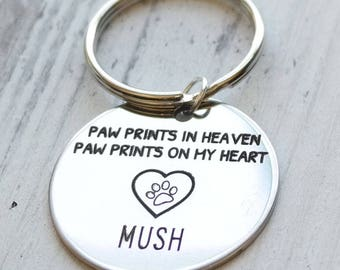 Paw Prints in Heaven Personalized Engraved Key Chain