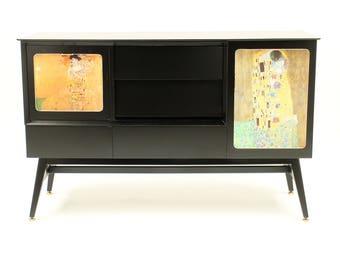 Upcycled sideboard with Gustav Klimt art work