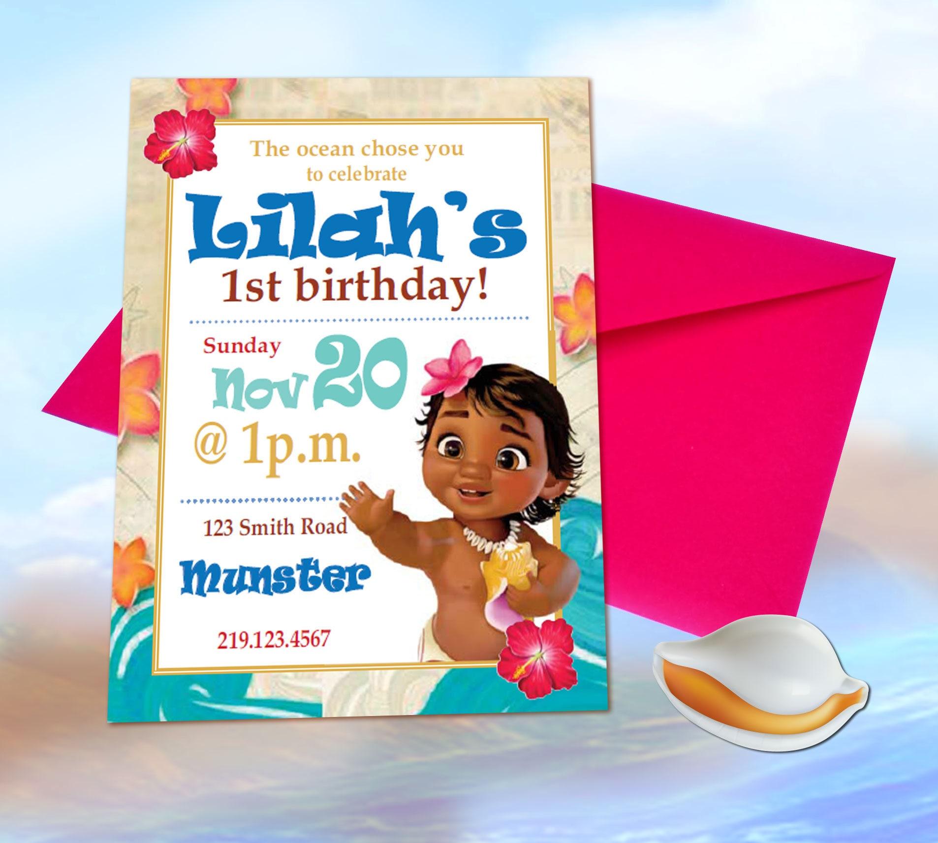 Baby Moana Sand And Waves Birthday Invitation