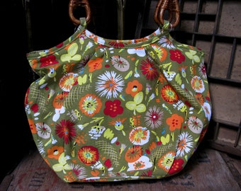 Laura Ashley Bag, Vintage Bag, Vintage Handbag, Vintage Laura Ashley, Over Arm Bag, Floral Bag, Wooden Handles, Cotton Bag, Boho Bag