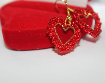 Heart Valentine gift Romantic Earrings love red heart Valentines Day Gift heart dangle earring heart jewelry love jewelry