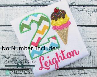 Ice Cream Cone Applique Design ~ Cool Summer Treat ~ Instant Download