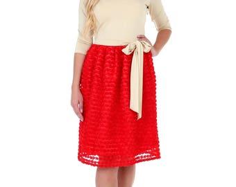 Sand Top Red Bottom Mini Women's Dress V Neck 3/4 Sleeves