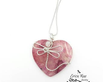 purple agate gemstone necklace, heart shaped pendant necklace, dragonfly necklace, wire wrapped pendant, purple gemstone, boho jewelry