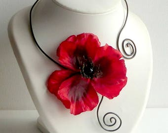 necklace poppy red SET/necklace black poppy black/necklace evening, weddings/necklace razor-sharp necklace poppy/woman gift