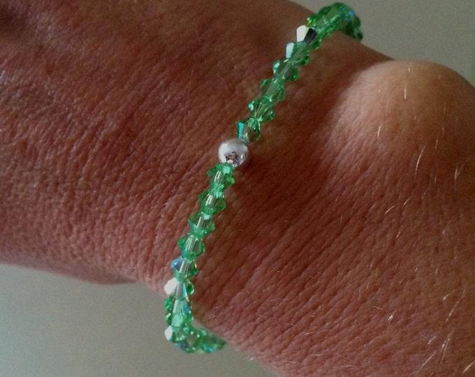 Green Swarovski crystal stretch bracelet Sterling Silver bead small Peridot green bracelet August birthstone jewelry Peridot jewellery gift