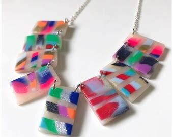 Multicolor rectangle necklace