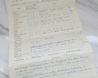 Vintage 1950 Handwritten School Report