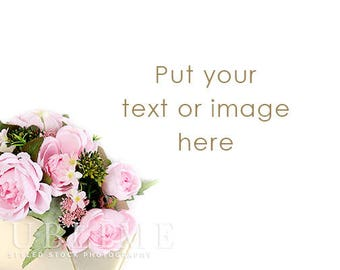 Flowers Background / Stock Photo / Styled Stock Photography / Floral / Spring / Pink Flowers / Bouquet / White Background / StockStyle-916
