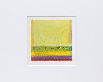 """4x4"""" Original Abstract Oil Painting , Color Field, Small Oil Painting on Canvas, Yellow, Blue,Magenta, Red, Modern Wall Art, Miniature art"""