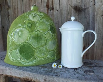 French Coffee Pot Warmer, Felt Coffee Cozy, Green Felted Coffee Pot Cover