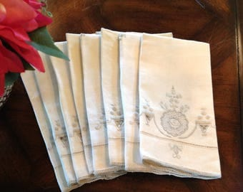 Eight Linen Dinner Napkins, Vintage Dinner Napkins