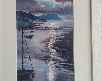 A Parrog Moon, Original Watercolour by Andrew Bailey. Newport paintings, Pembrokeshire Coast,  Boats, Yachts,  seascapes, Welsh art Moonlit.