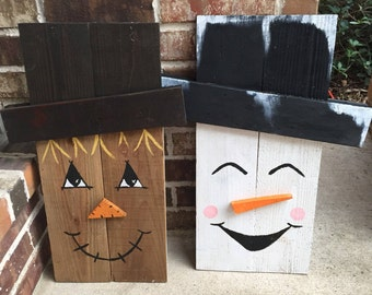 Large scarecrow / snowman reversible sign