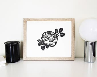 Peony Art Print  / Flower Art / 8 x 10 / Linocut Relief Print / Peonies / Romantic / Natural Minimal / Floral Print / Wall Art / Home Decor