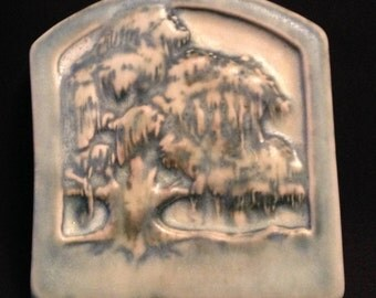 "Newcomb Style from Derby Pottery Arts Crafts Art Pottery Tile Fabulous Tree - New Orleans 4.0"" x 4.5"" Inches."