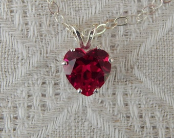 Ruby Heart Necklace, Ruby & Sterling Heart Pendant, 10mm Ruby Heart Pendant Necklace, July Birthstone, Wedding Jewelry, Lab Created Ruby