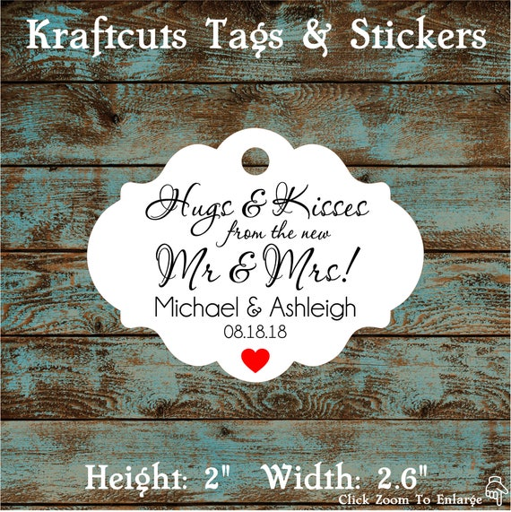 Hugs and Kisses Wedding Reception Favor Tags # 791 Qty: 30 Tags