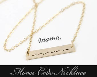 Morse Code Necklace / Morse Code Bar Necklace / Secret Mesage Necklace / Morse Code Jewelry / Gold Filled , Sterling Silver, Rose Gold