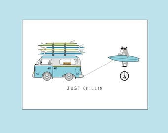JUST CHILLIN. . . VW Surf Camper Van Happy Birthday - Greeting Card by Katie Cheetham