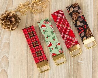 Christmas Stocking Stuffer, Keychain, Key Fob, Fabric Keychain, Winter, Plaid, Pinecone, Santa, Gold Keychain