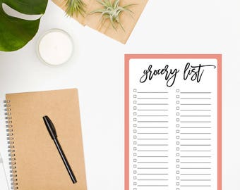 Grocery List Notepad / Grocery Shopping / Grocery Notepad / Grocery Checklist / Weekly Meal Planning / Food Shopping List / Coral