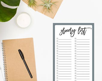Grocery List Notepad / Grocery Shopping / Grocery Notepad / Grocery Checklist / Weekly Meal Planning / Food Shopping List / Gray