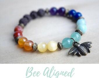 7 Chakra Bracelet / 7 chakra set, 7 chakras meditation, seven chakras yoga, diffuser bracelets, insect jewelry women, bee charm bracelet