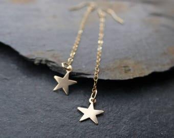 Falling star earrings, 14k gold filled, long dangle earrings, boho jewelry, bohemian earrings, minimalist earrings, lightweight earrings