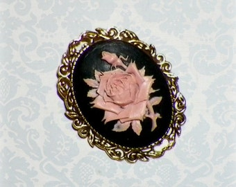 Pin Rose Brooch Cameo Victorian Gothic Black Pink Vintage Style Steampunk Antique  Gold Style