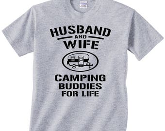 Husband and Wife Camping Buddies For Life t shirt tshirt tee matching camp trailer rv camper best friends campfire couple anniversary gift