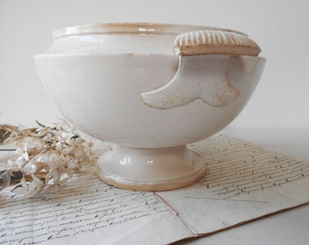 Rare French Antique White Ironstone Soup Tureen Serving Bowl