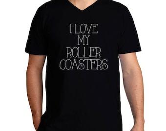I Love My Roller Coasters V-Neck T-Shirt