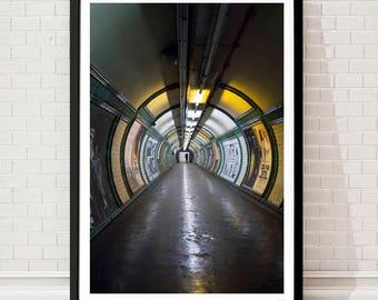 London tube, London wall art print, London subway, London underground, London photography, street photography, poster, colour photo London