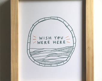 Wish You Were Here . Mixed Media 8 x 10 Print. Hand Stitched.