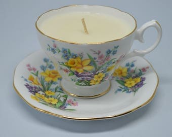 Vintage Teacup Candle **Vanilla Vegan Soy Candle**