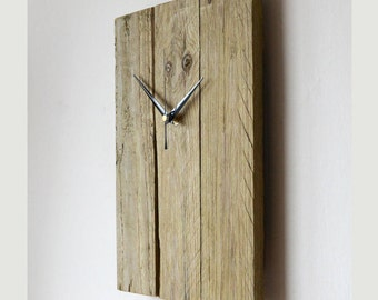 Rustic reclaimed style wood wall clock timber