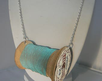 sewing bee thread giant  tatty vintage spool necklace woodcut lasercut blue
