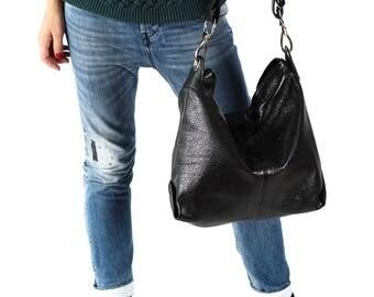 Shoulder Handbag, Black Handbag, Everyday Bag, Simple Bag, Natural leather bag, Big Leather Handbag, Big Leather Bag, Elegant handbag